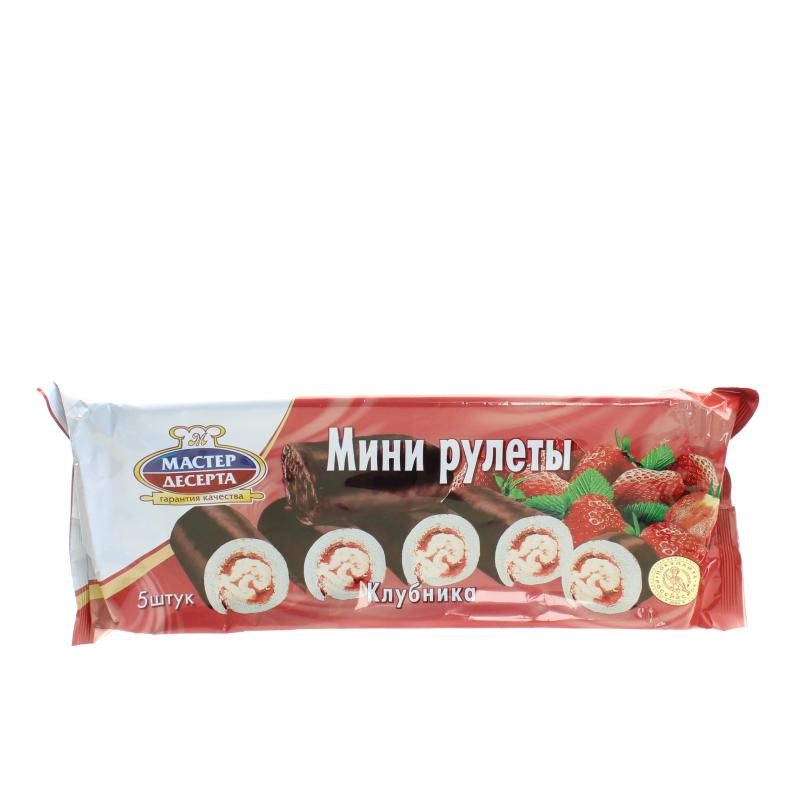 Мини-рулеты бисквитные Мастер десерта Клубника с кремом 175 гр.
