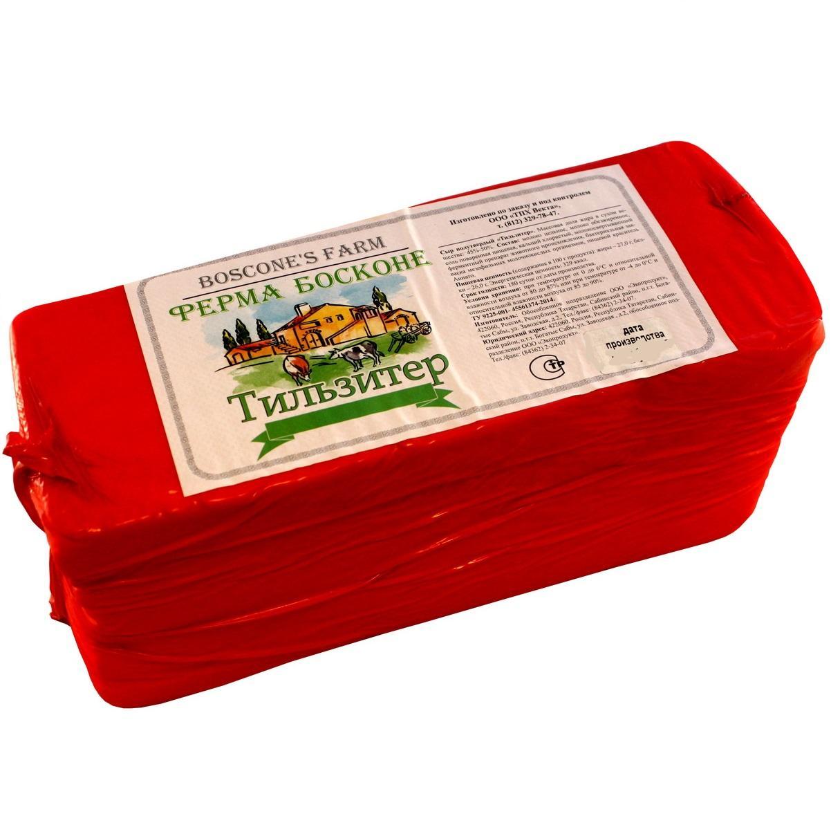 Сычужный продукт Ферма Босконе Тильзитер 45%, Россия