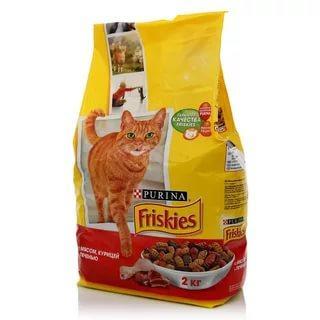 Корм сухой для кошек с мясом курицей и печенью Friskies 2 кг. Пластиковый пакет