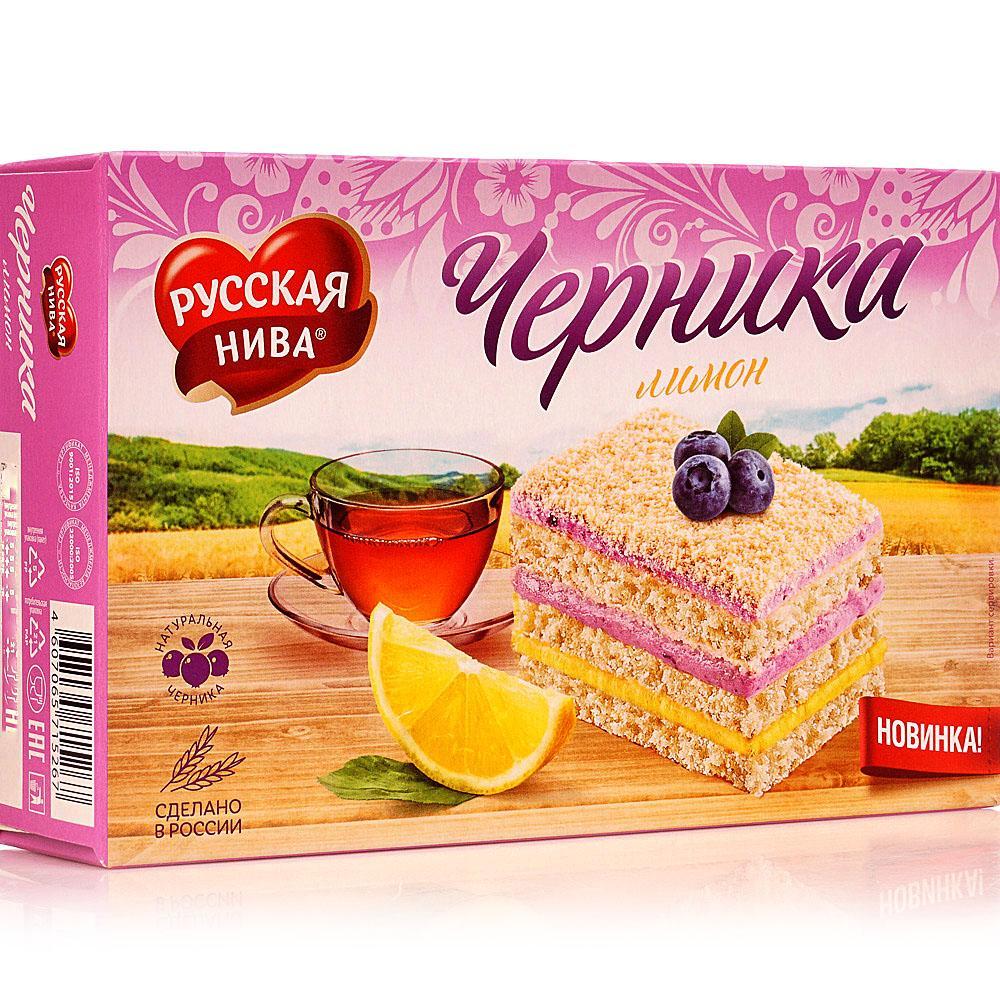 Торт Русская Нива бисквитный чернично - лимонный