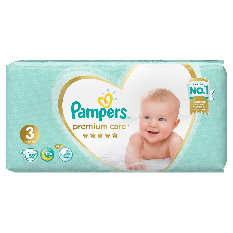 Подгузники Pampers Premium Care 3, 6-10кг., 52 шт.