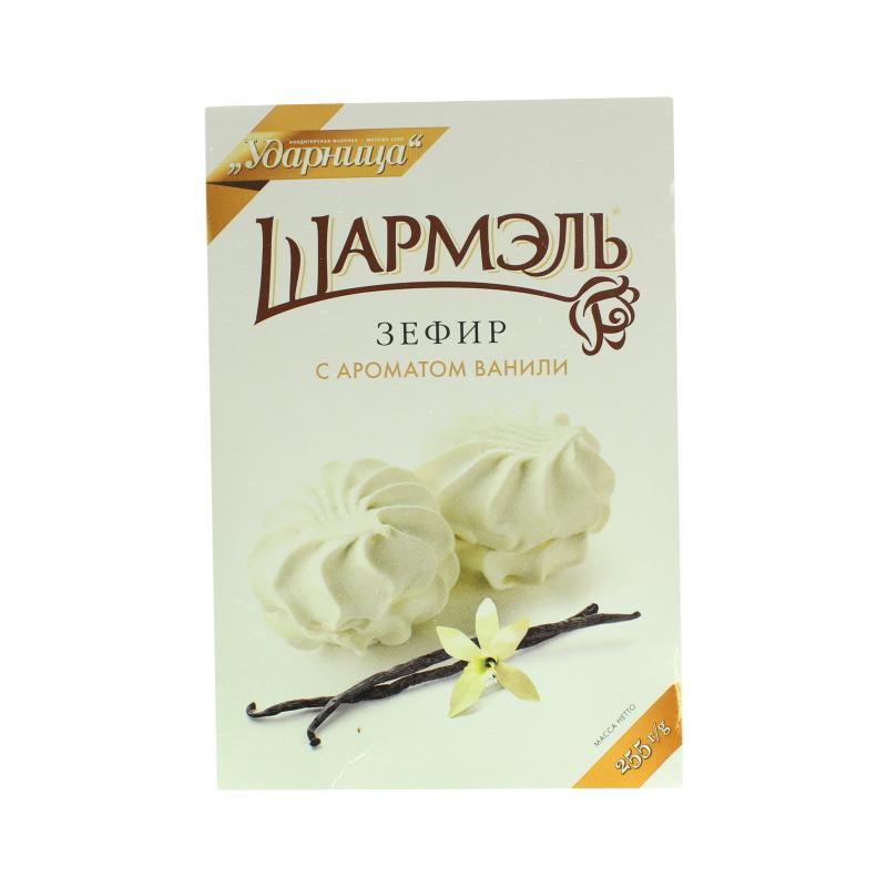 Зефир Ударница Шармэль с ароматом ванили, к/к 255 гр. (12 шт. в упаковке)