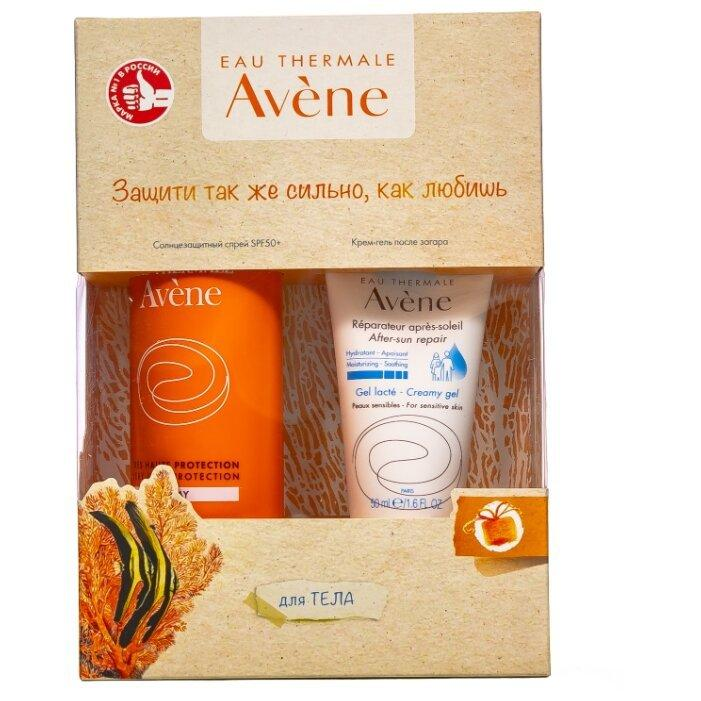 Набор Avene спрей солнцезащитный SPF50+, крем-гель после солнца