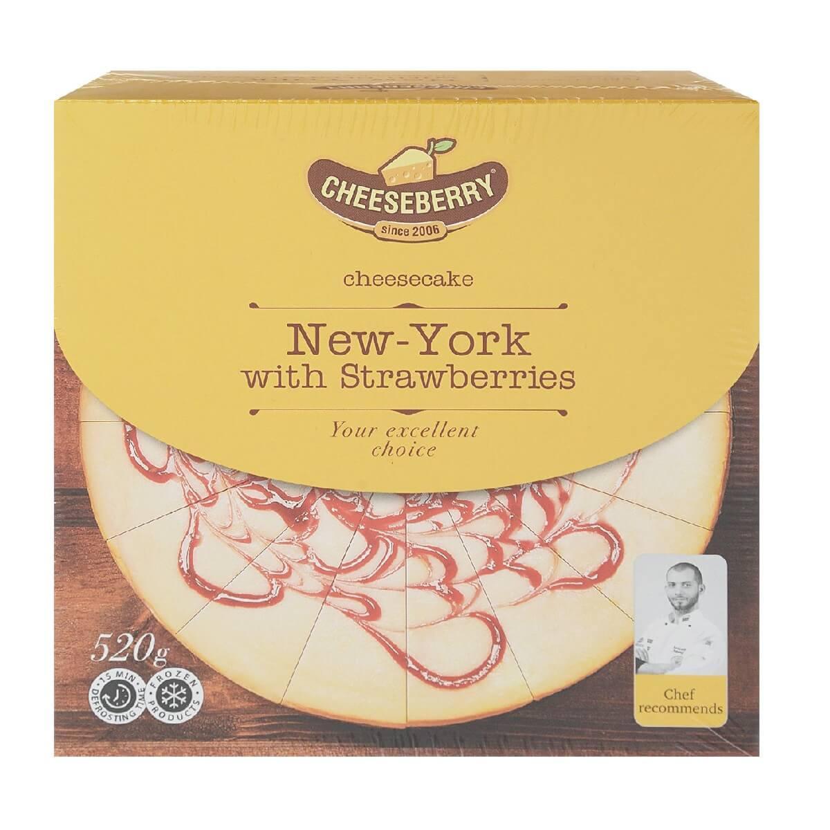 Торт Cheeseberry Чизкейк New York с клубникой 16кус/уп, Россия