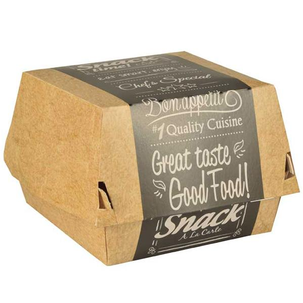 Упаковка для гамбургера Papstar с дизайном Good food! эко картон 90х90х70мм.