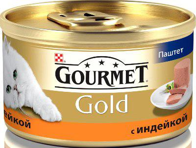 Корм влажный для кошек паштет с индейкой Gourmet 85 гр. Жестяная банка