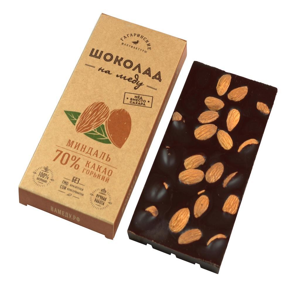 Шоколад На Меду 70% какао С миндалем