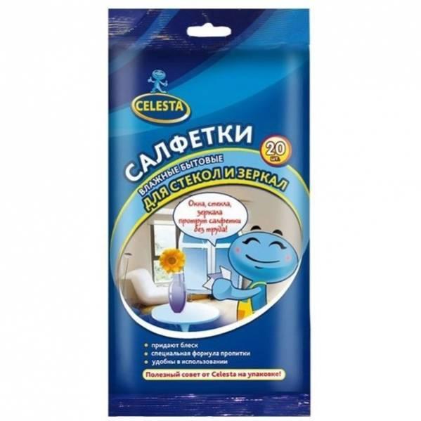Влажные cалфетки Celesta Для стекол и зеркал 20 шт