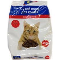 Корм сухой для кошек с говядиной Aro 400 гр. Пластиковый пакет