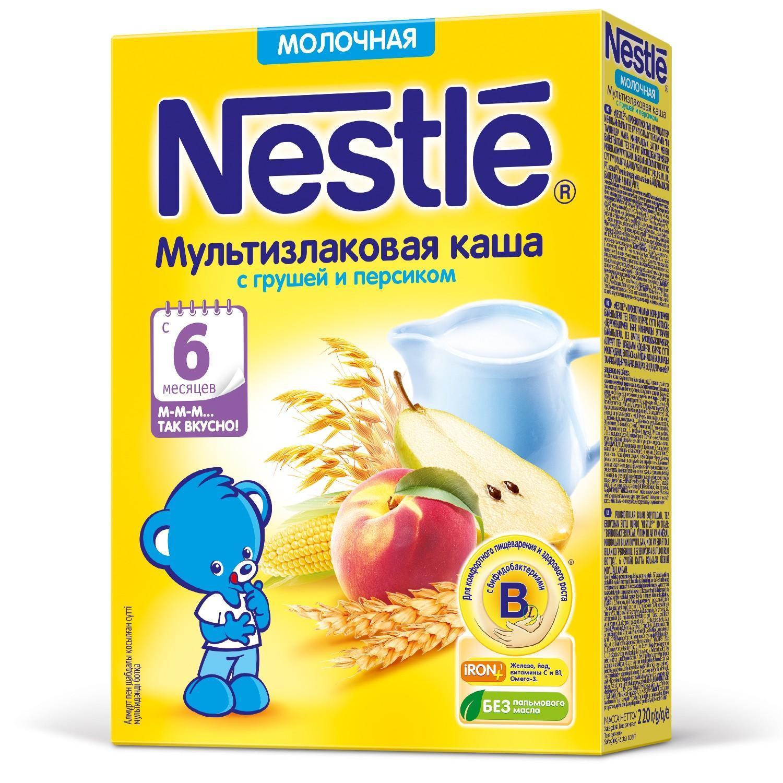Каша Nestle молочная мультизлаковая с грушей и персиком с 6 месяцев