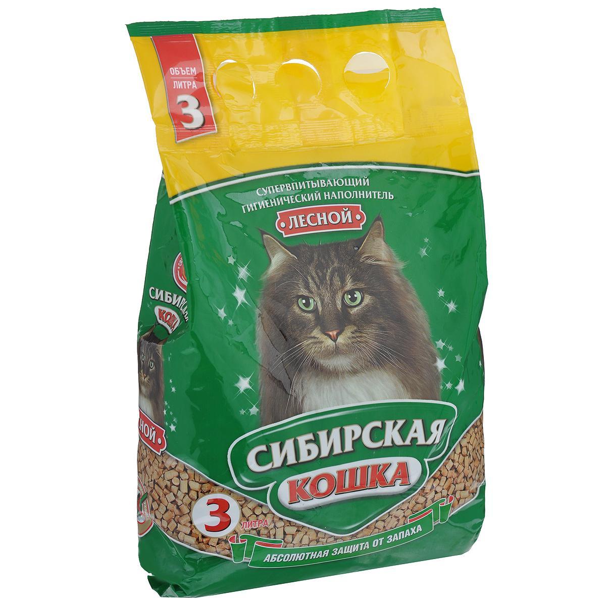 Наполнитель для кошачьих туалетов Сибирская Кошка Лесной, древесный