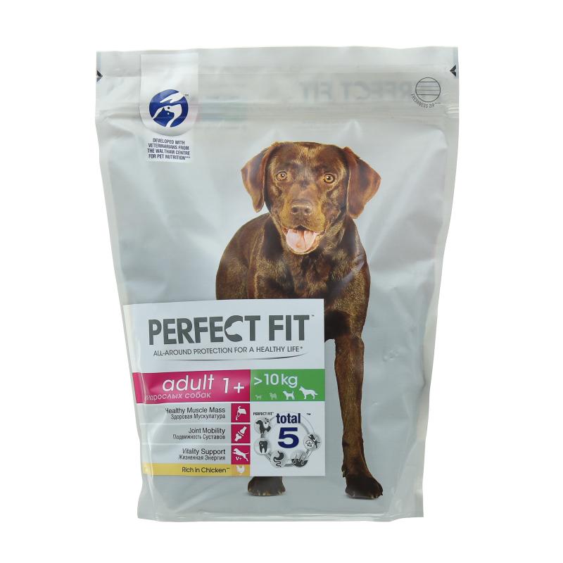 Корм сухой для взрослых собак от 1 года средних и крупных пород с курицей Perfect Fit 800 гр. Дой-пак