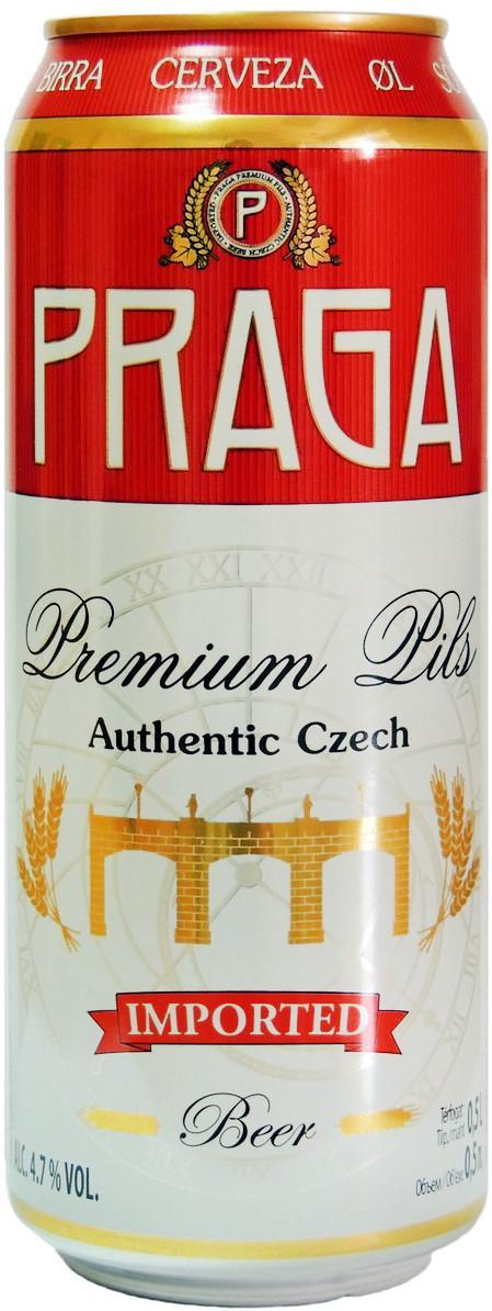 Пиво Praga Premium Pils светлое фильтрованное 4,7%