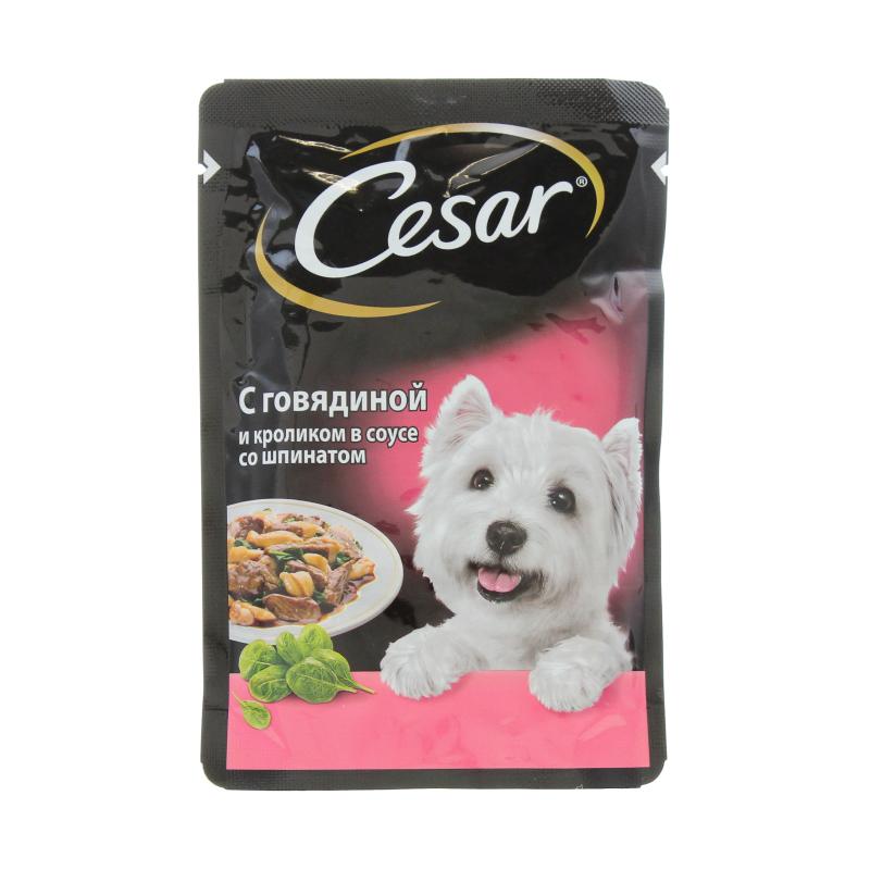 Корм влажный для взрослых собак, с говядиной и кроликом в соусе под шпинатом Cesar 100 гр. Дой-пак