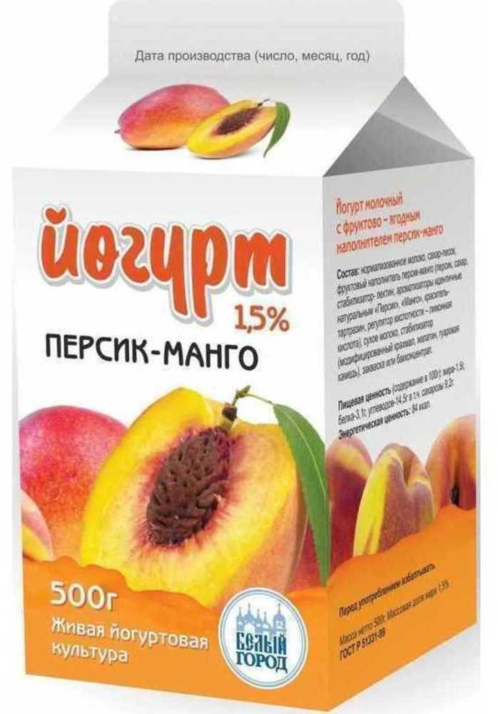 Йогурт Белый город Персик-манго 1,5%