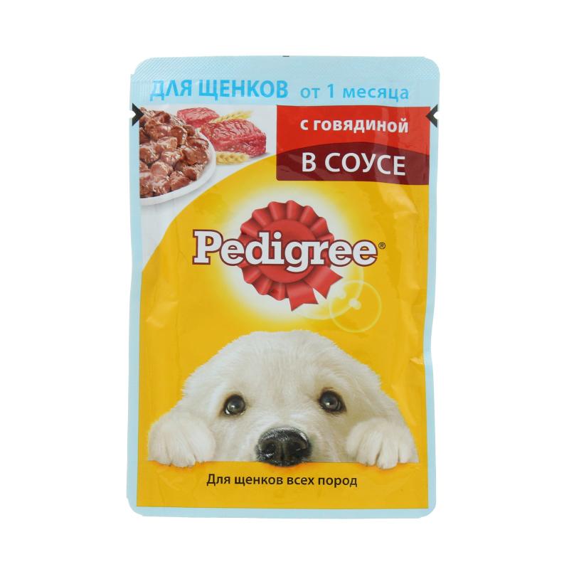 Корм влажный для щенков от 1мес с говядиной в соусе Pedigree 85 гр. Дой-пак