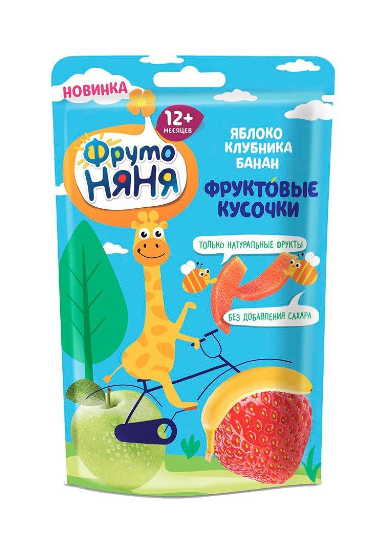 Фруктовые кусочки ФрутоНяня Яблоко-Клубника-Банан