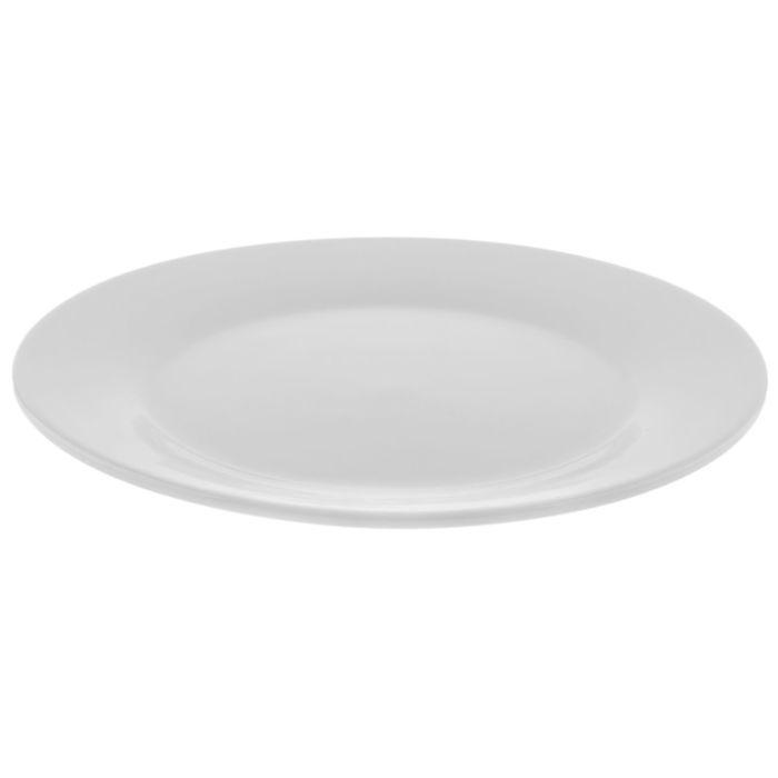 Тарелка White Label обеденная с утолщённым краем D 20см. цвет белый