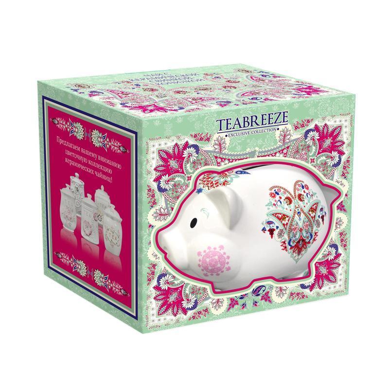Чай Teabreeze Свинка-копилка Золотой Ассам листовой в подарочной керамической чайнице