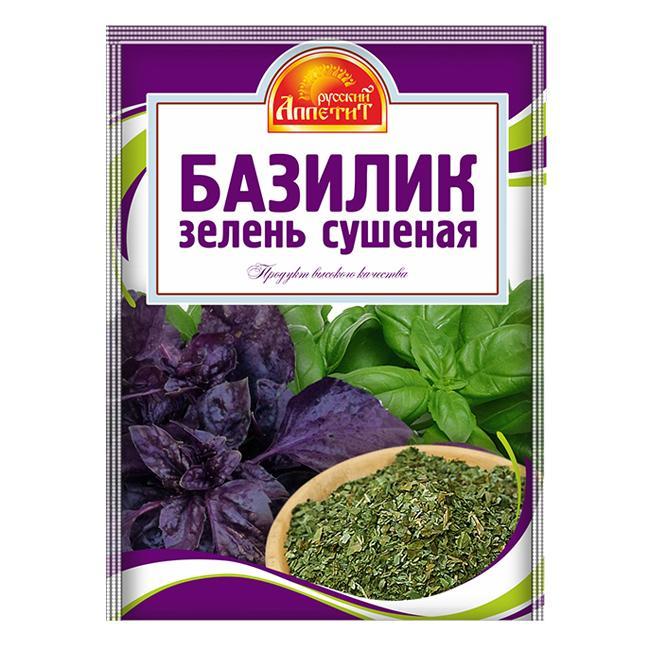 Приправа Русский аппетит Базилик зелень сушеная