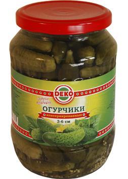 Огурцы Deko с зеленью в заливке 3-6 см