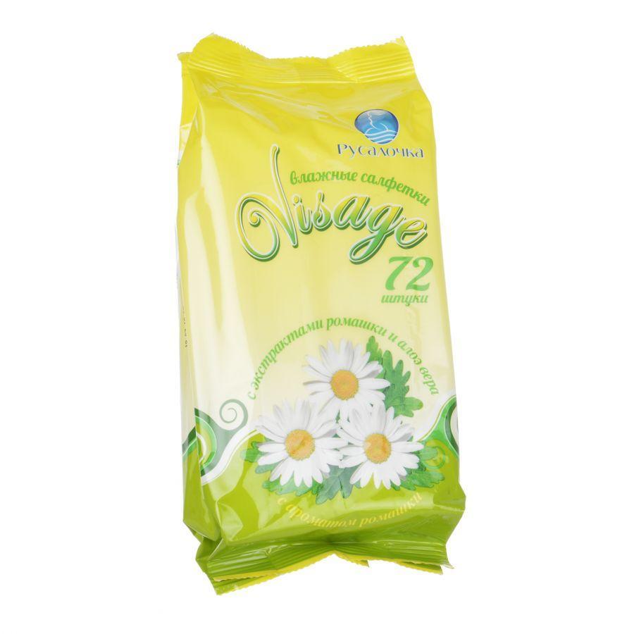 Салфетки влажные Русалочка Visage С ароматом ромашки 72шт.