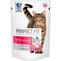 Корм влажный для взрослых кошек, говядина в соусе Perfect Fit 85 гр. Дой-пак