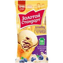 Мороженое пломбир Золотой Стандарт сливочный с черникой 89 г