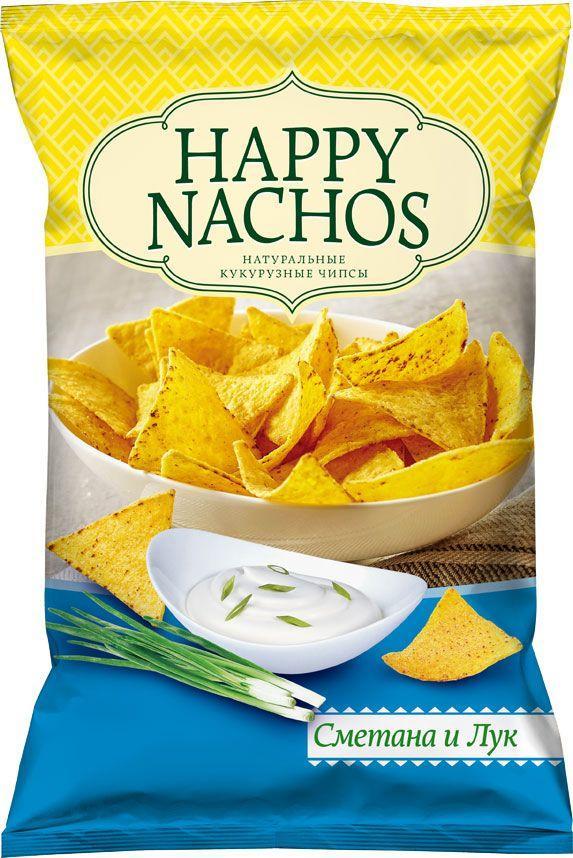 Чипсы Happy Nachos Кукурузные со вкусом сметаны и лука