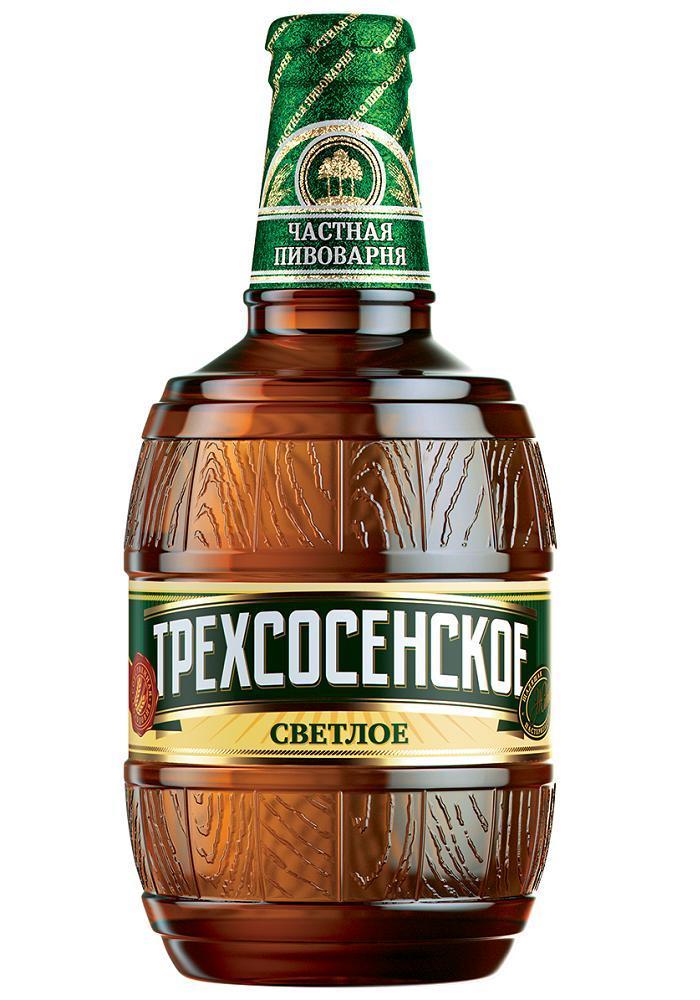 Пиво светлое Трехсосенское живое 4% 0,5 л.