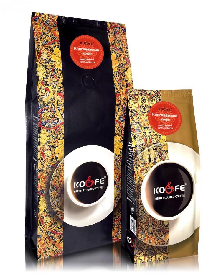 Кофе Ко энд Фе  жареный в зернах Конголезский (робуста  Индонезия100%)