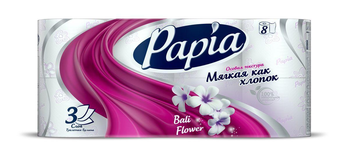 Туалетная бумага Papia Bali Flower 3 слоя, 8 шт.