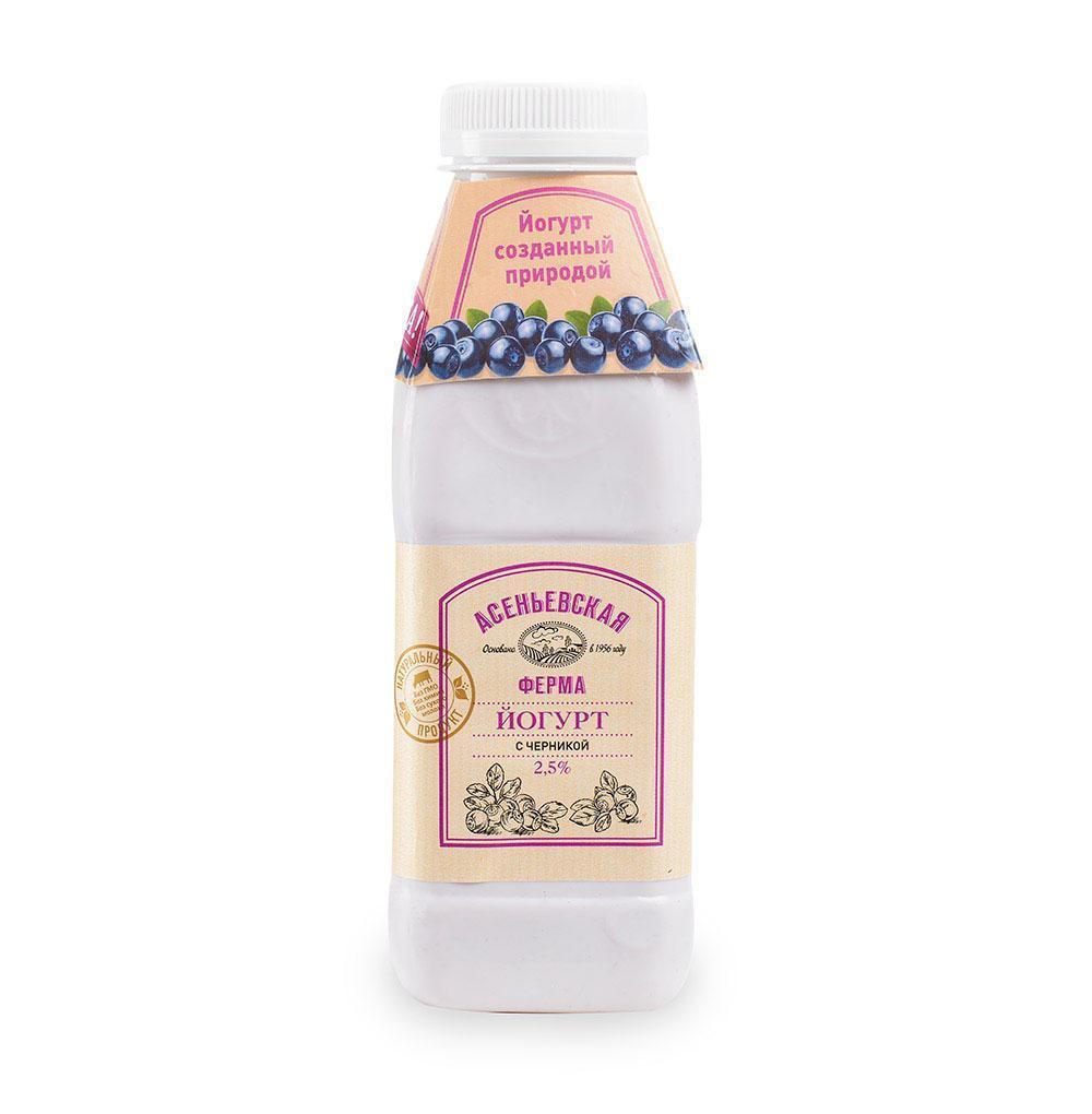 Йогурт Асеньевская ферма с ягодным наполнителем Черника 2,5%