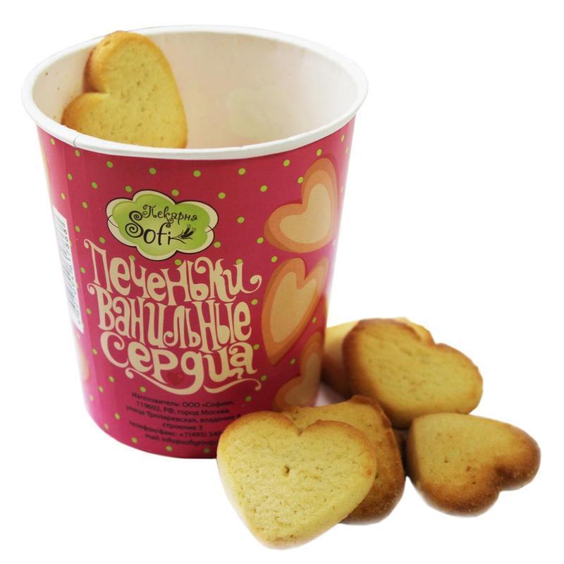 Печенье Стаканчик с ванильными сердечками