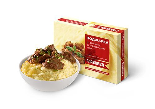Готовое блюдо Главобед Поджарка из свинины с картофельным пюре