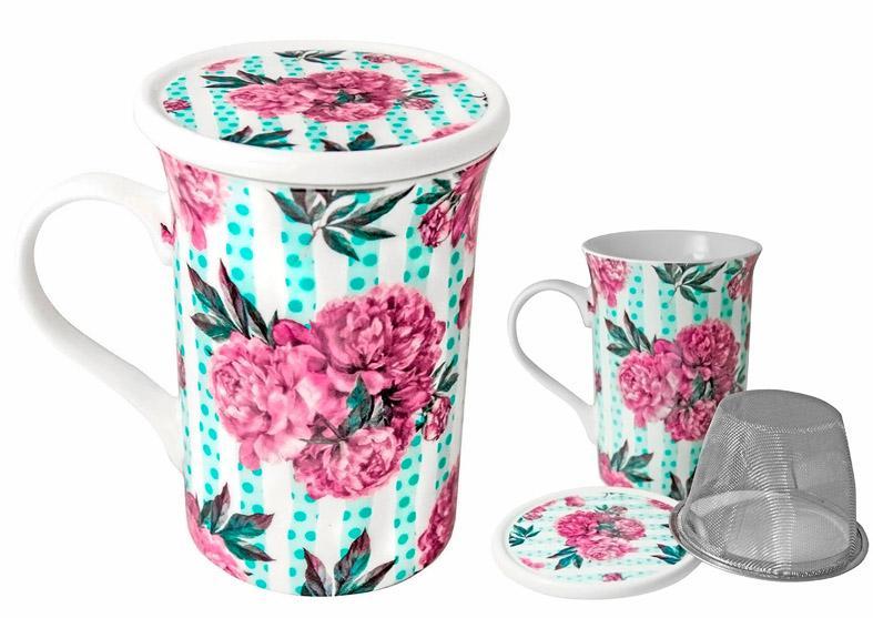 Чай черный ИМЧ Чашка Пионы с крышкой и ситечком