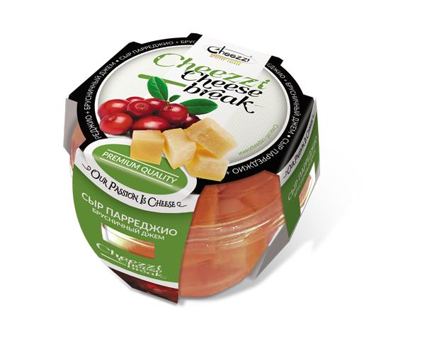 Сыр Cheezzi Парреджио 40% кубики с брусничным джемом
