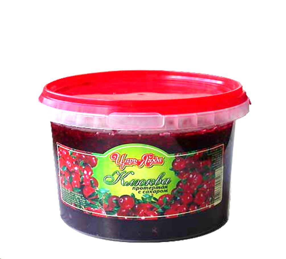 Ягода Царь-ягода Клюква протертая с сахаром, Россия
