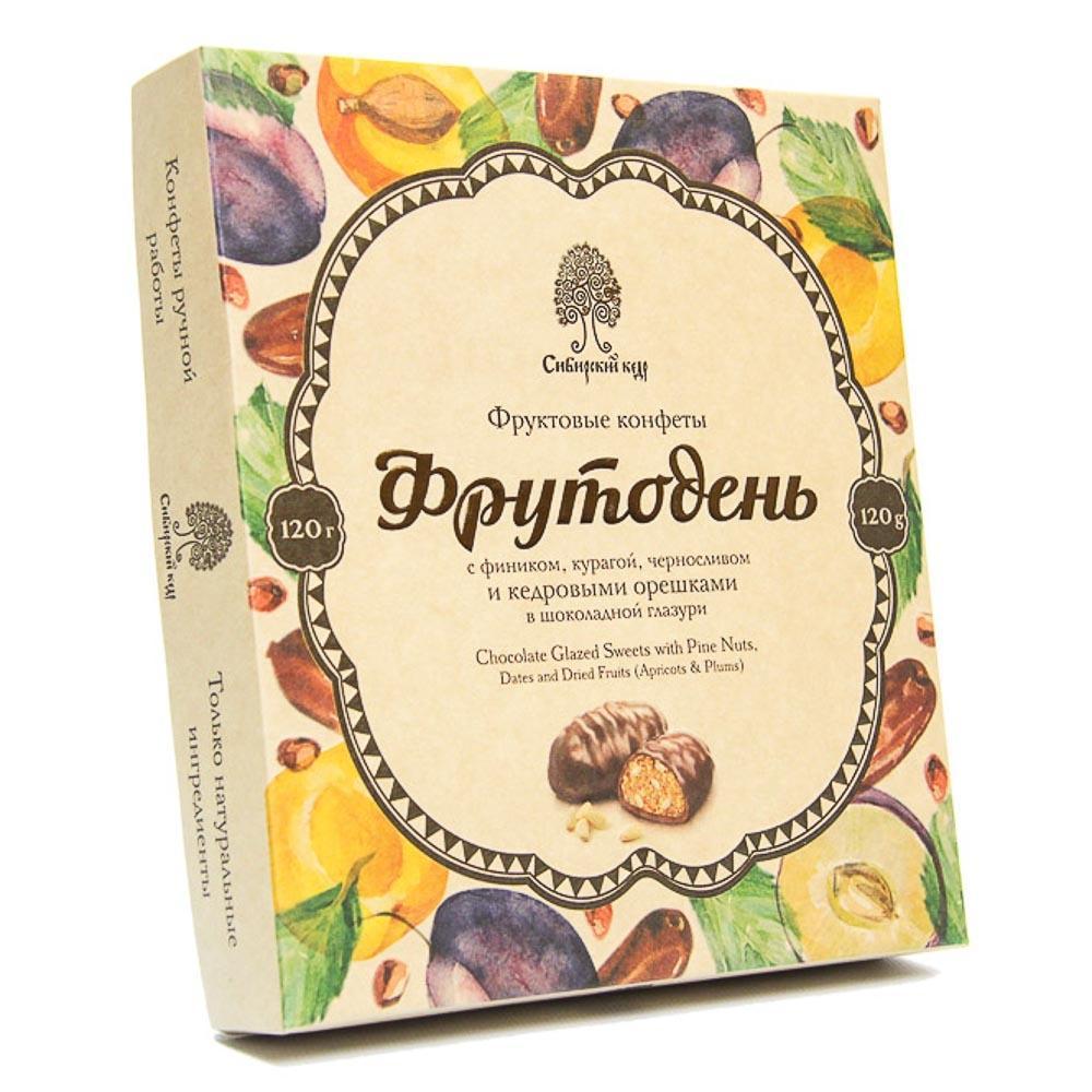 Конфеты Сибирский кедр Фрутодень фруктовые с кедровыми орешками в шоколадной глазури