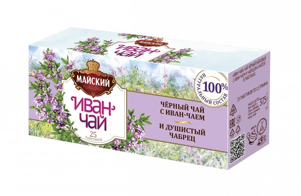 Чай Майский Иван-чай с черным чаем и чабрецом 25 пакетов