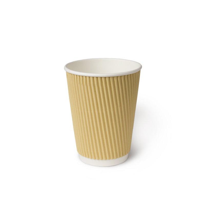 Бумажный стакан, 360 мл (макс. 430 мл), двухсл., гофр. вертикаль, бежевый