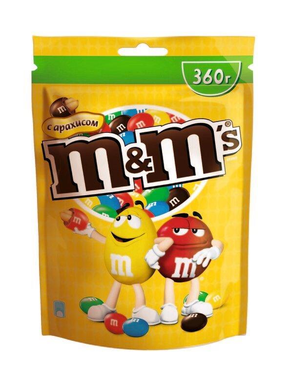 Драже M&M's с арахисом и молочным шоколадом покрытое хрустящей желтой глазурью