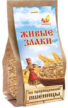 Хлопья из пророщенной пшеницы, Дивинка Живые злаки 300 гр., бумажная упаковка