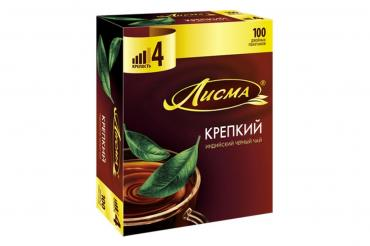 Чай Лисма крепкий, 100 пакетов, 100 гр., картон