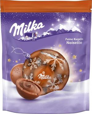 Шоколад молочный, в форме шара с центром из молочного шоколада и ореховой пасты из фундука, Milka, 90 гр., дой-пак