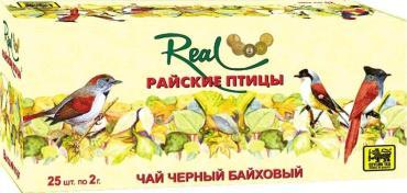 Чай черный в пакетиках, 25 штук Real Райские птицы, 55 гр., картон