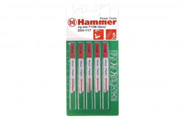 Пилка для лобзика 204-117 JG WD-PL T119B 5pcs мягк.др,пл, 67 мм., шаг 1.9-2.3, HCS, 5 шт., Hammer Flex, 30 гр., блистер