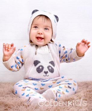 Комбинезон для мальчика, 24-74-80, белый, голубой, Golden Kids, Панда, Россия, 290 гр., пластиковый пакет