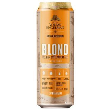 Пиво Volfas Engelman Blond светлое нефильтрованное 4,5%
