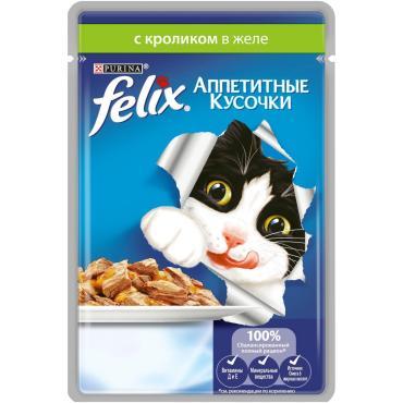 Корм влажный для кошек кусочки кролик Felix 85 гр. Дой-пак